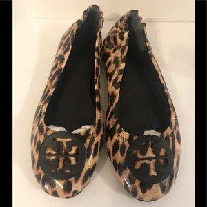 Tory Burch Leopard Print Patent Leather Flats 10.5